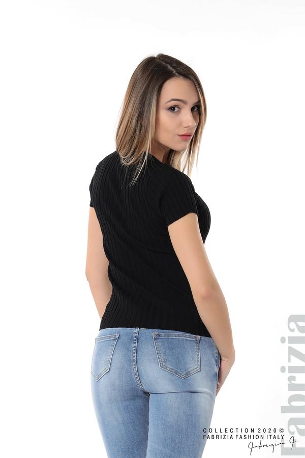 Рипсена блуза с къс ръкав черен 5 fabrizia