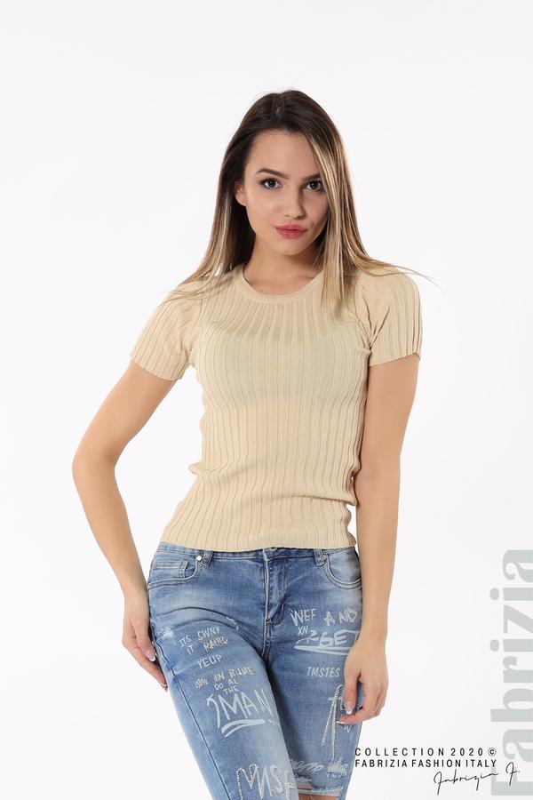 Рипсена блуза с къс ръкав бежов 2 fabrizia