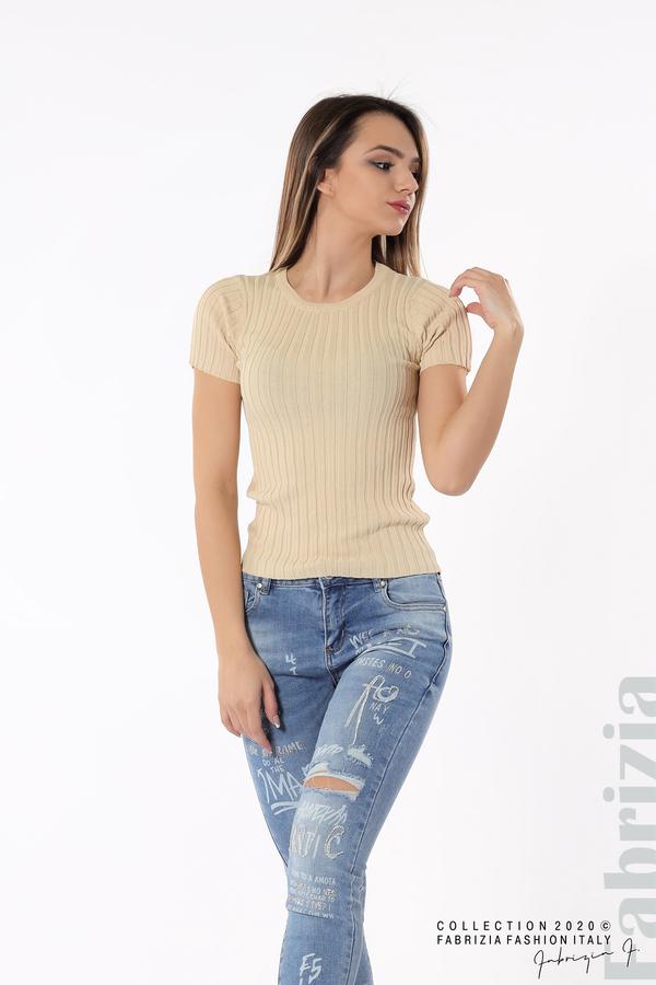 Рипсена блуза с къс ръкав бежов 3 fabrizia