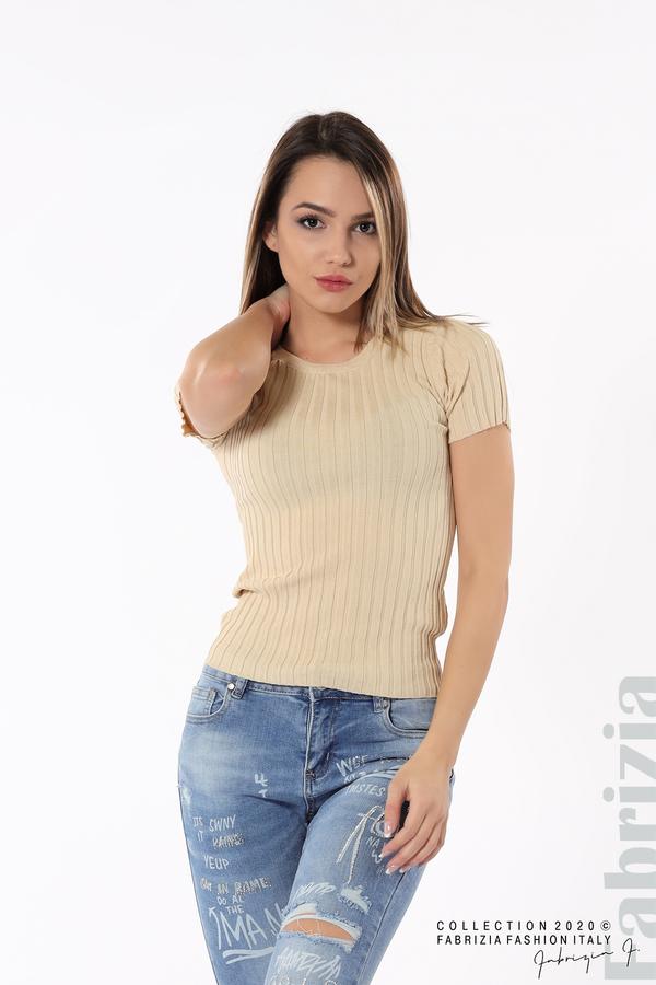 Рипсена блуза с къс ръкав бежов 1 fabrizia