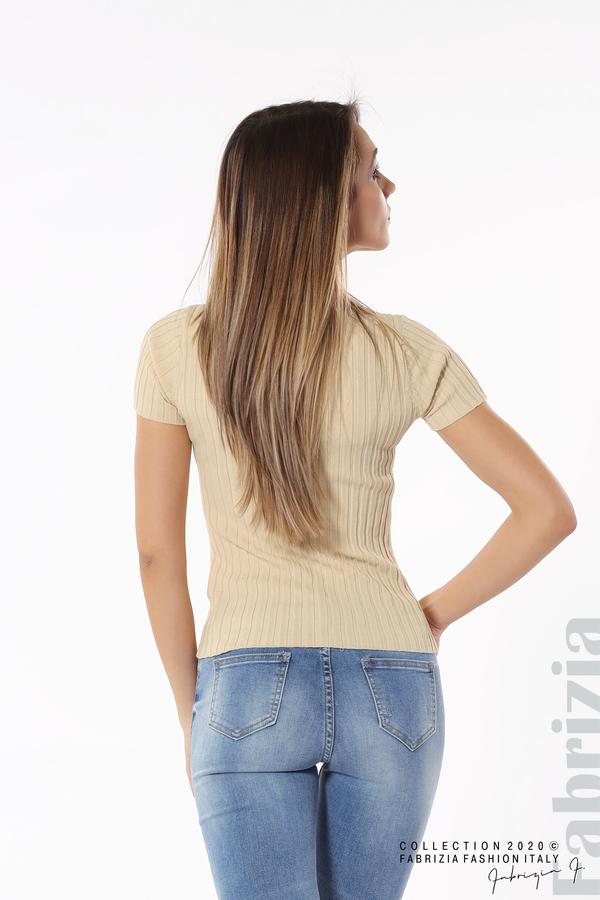 Рипсена блуза с къс ръкав бежов 5 fabrizia