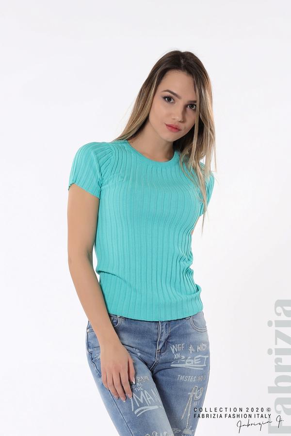 Рипсена блуза с къс ръкав аква 1 fabrizia