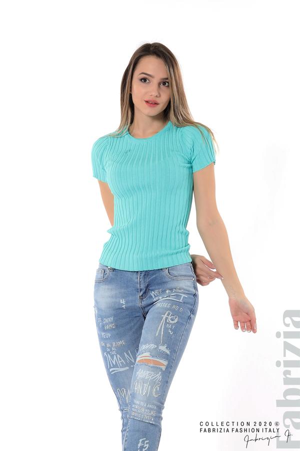 Рипсена блуза с къс ръкав аква 3 fabrizia
