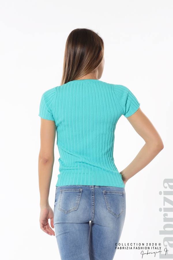 Рипсена блуза с къс ръкав аква 5 fabrizia