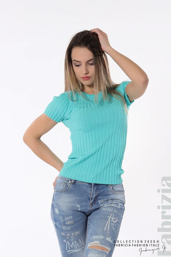 Рипсена блуза с къс ръкав аква 2 fabrizia