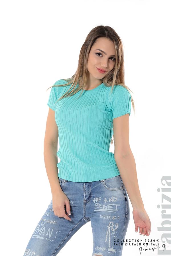 Рипсена блуза с къс ръкав аква 4 fabrizia