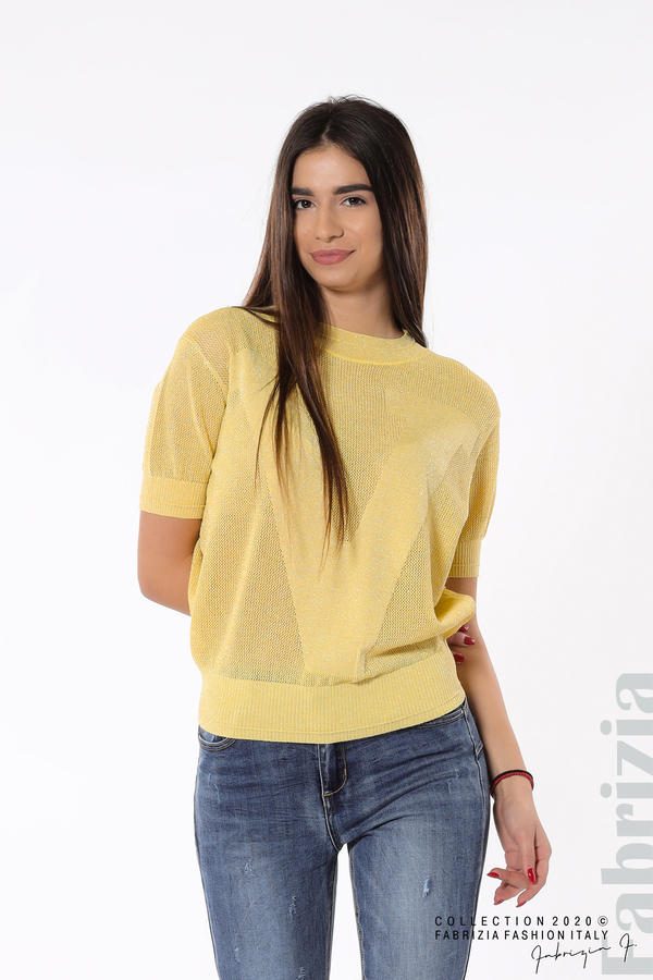 Дамска мрежеста блуза с буква V жълт 1 fabrizia