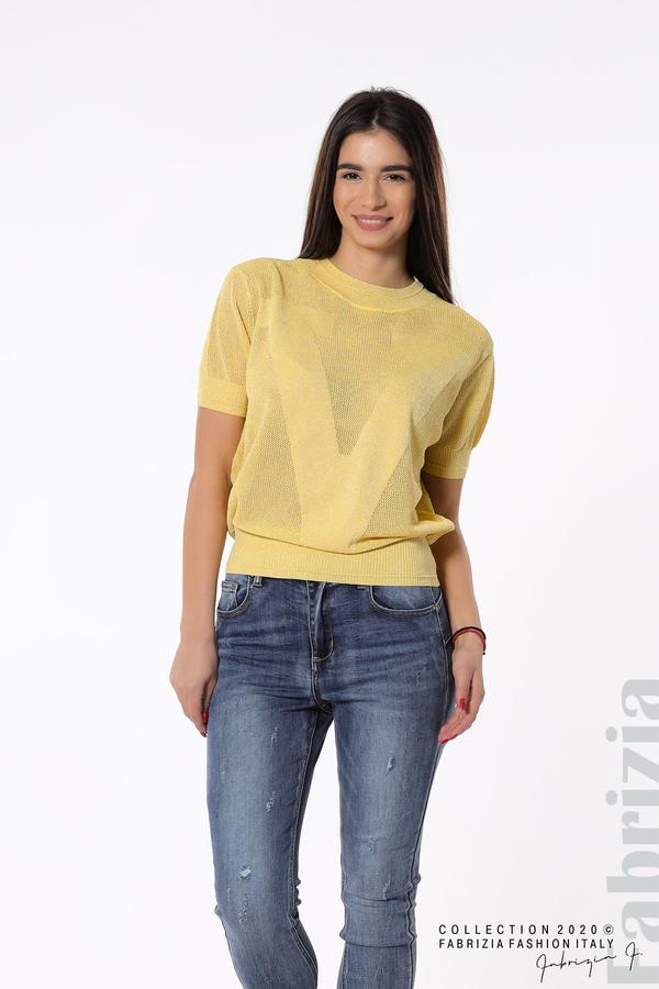 Дамска мрежеста блуза с буква V жълт 3 fabrizia