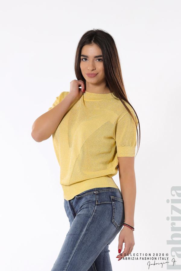 Дамска мрежеста блуза с буква V жълт 2 fabrizia