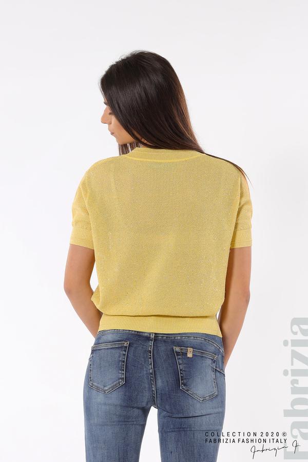 Дамска мрежеста блуза с буква V жълт 4 fabrizia