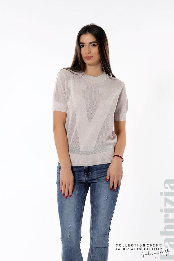 Дамска мрежеста блуза с буква V пепел от рози 2 fabrizia
