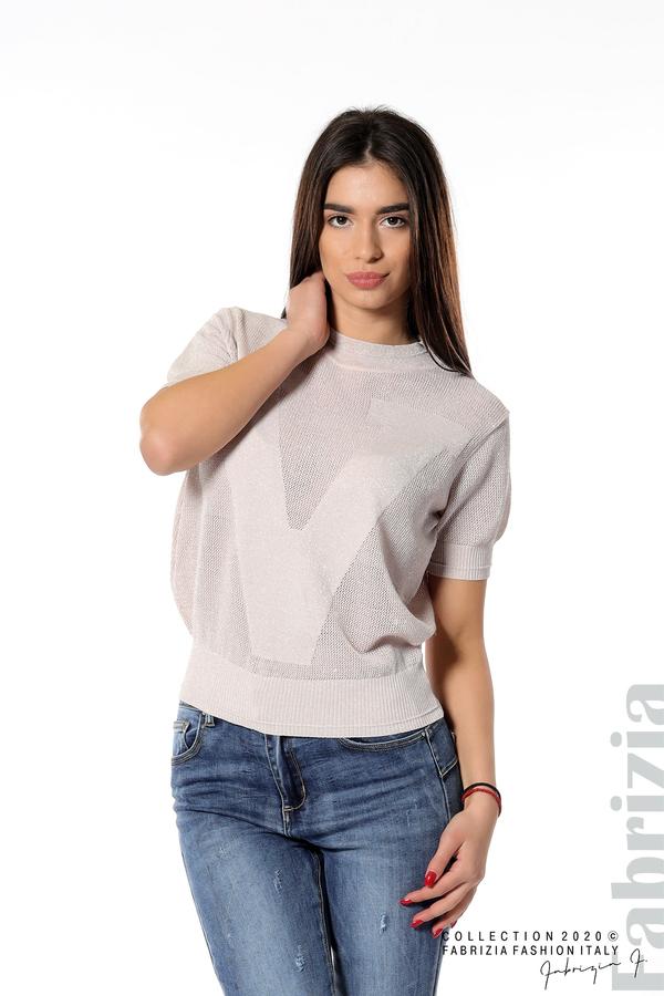 Дамска мрежеста блуза с буква V пепел от рози 1 fabrizia