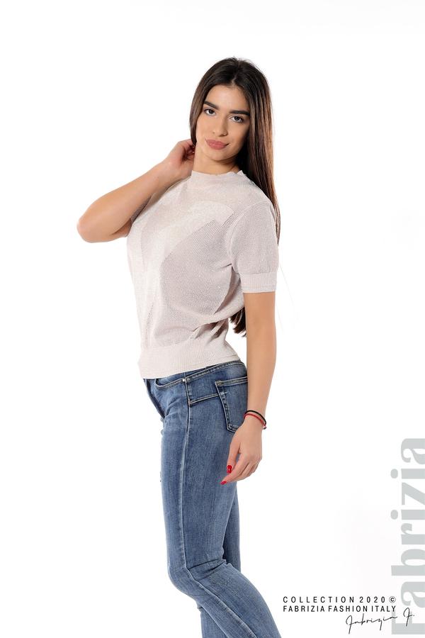 Дамска мрежеста блуза с буква V пепел от рози 3 fabrizia