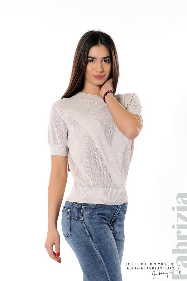 Дамска мрежеста блуза с буква V пепел от рози 4 fabrizia