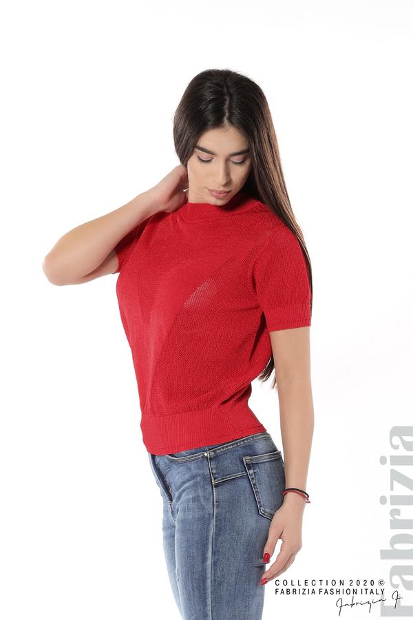 Дамска мрежеста блуза с буква V червен 2 fabrizia