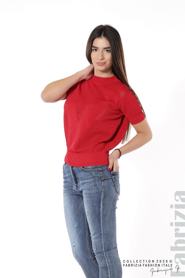 Дамска мрежеста блуза с буква V червен 3 fabrizia