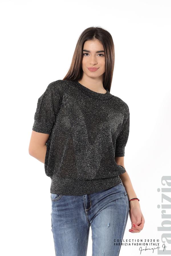 Дамска мрежеста блуза с буква V черен 1 fabrizia