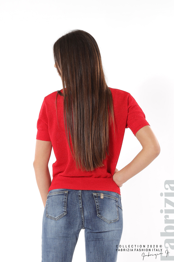 Дамска мрежеста блуза с буква V червен 4 fabrizia