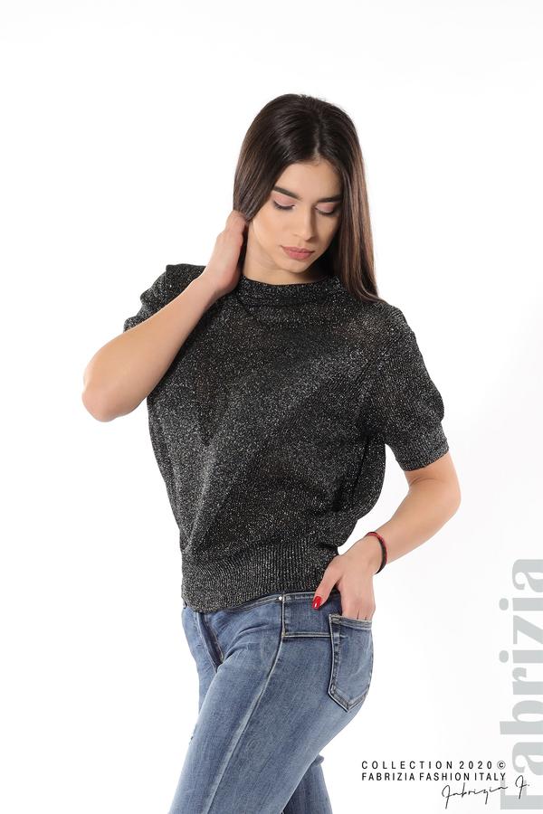 Дамска мрежеста блуза с буква V черен 3 fabrizia