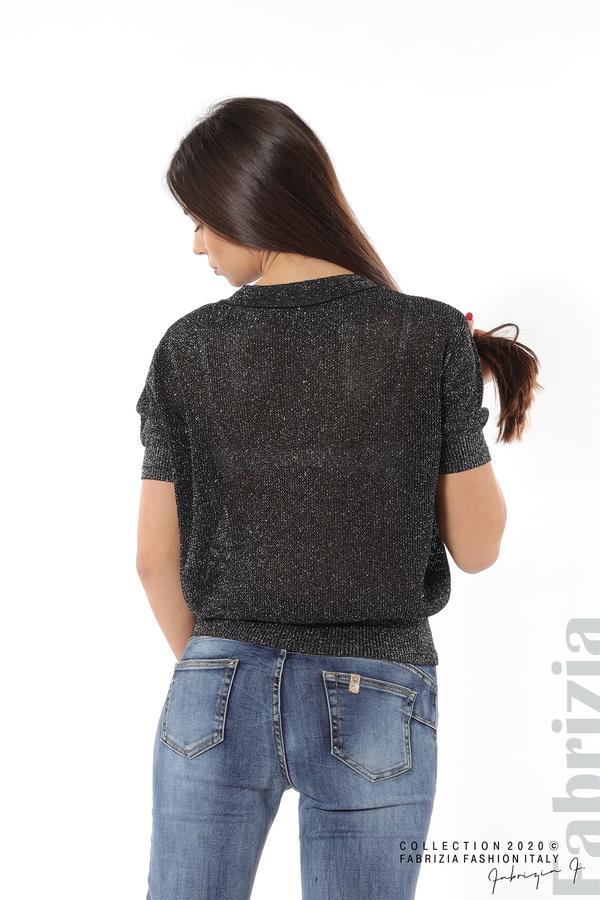 Дамска мрежеста блуза с буква V черен 4 fabrizia