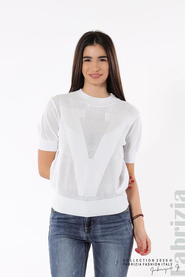 Дамска мрежеста блуза с буква V бял 2 fabrizia