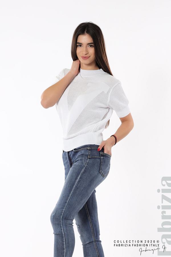 Дамска мрежеста блуза с буква V бял 3 fabrizia