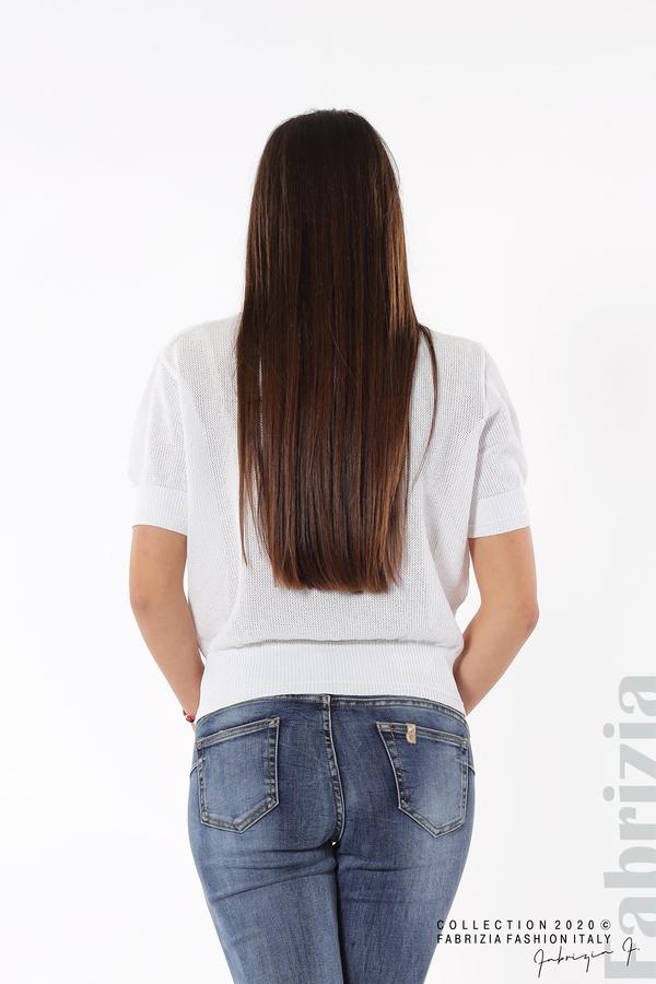 Дамска мрежеста блуза с буква V бял 4 fabrizia