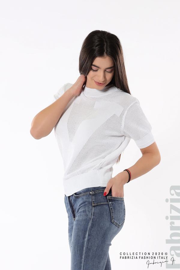 Дамска мрежеста блуза с буква V бял 1 fabrizia