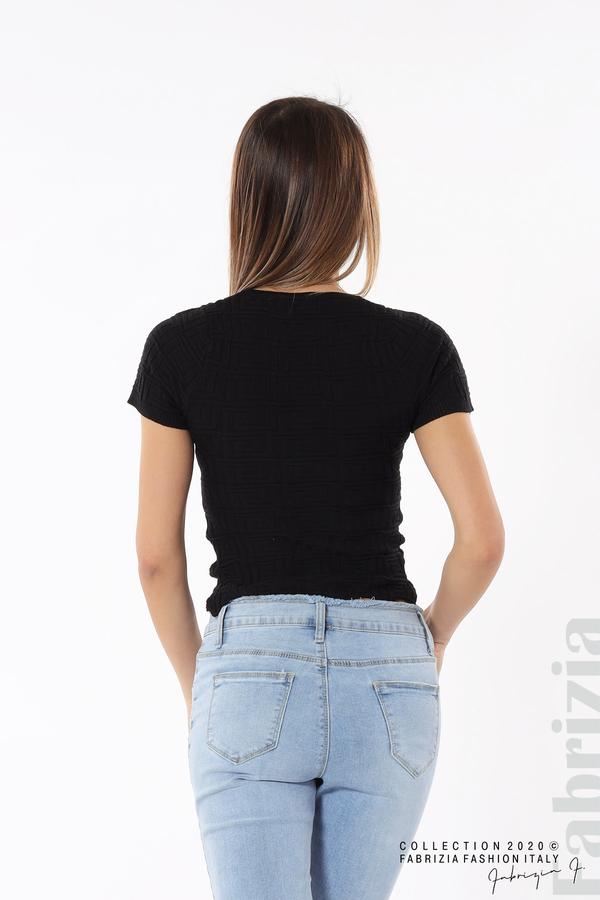 Дамска блуза с ефектна предна част черен 5 fabrizia