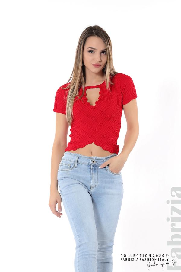 Дамска блуза с ефектна предна част червен 4 fabrizia