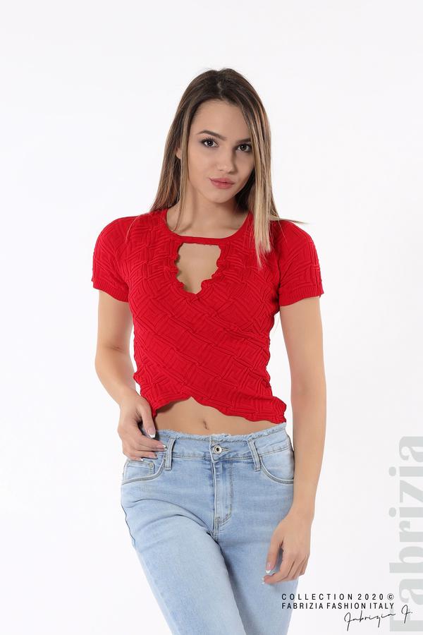 Дамска блуза с ефектна предна част червен 3 fabrizia