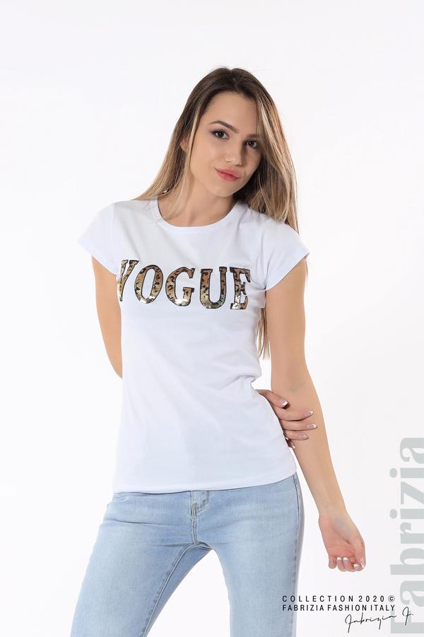 Дамска блуза с надпис Vogue бял 4 fabrizia