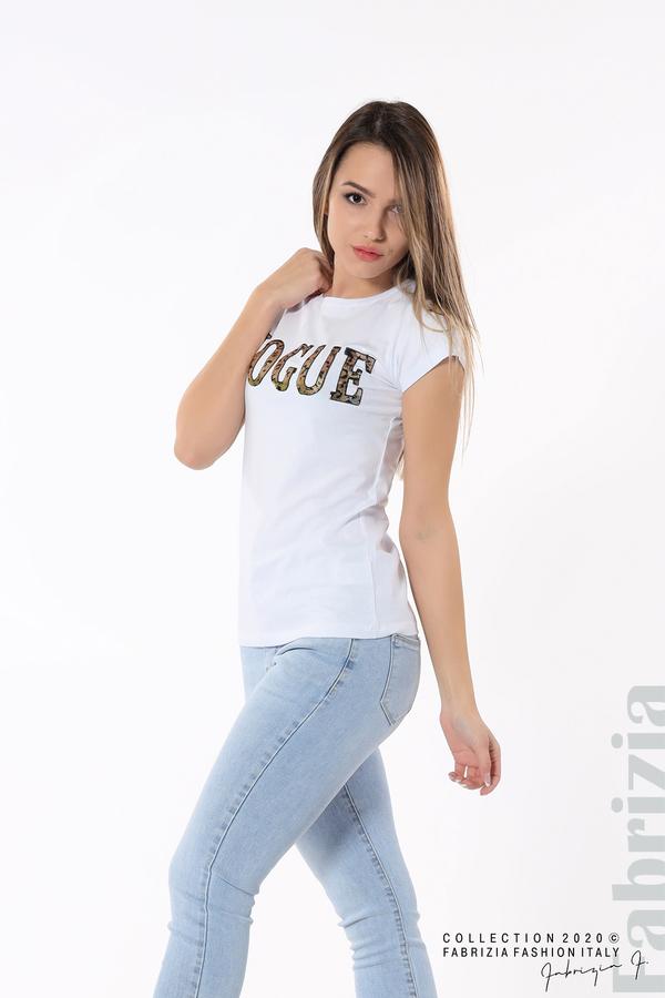 Дамска блуза с надпис Vogue бял 3 fabrizia