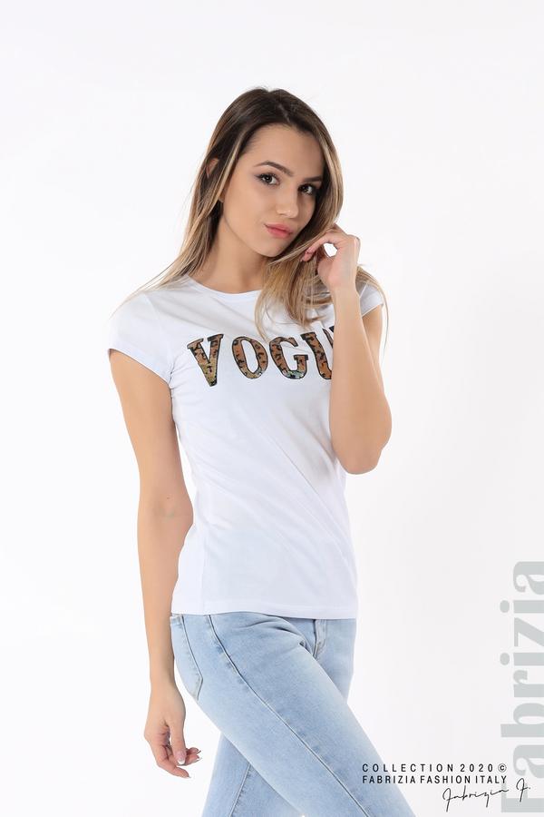 Дамска блуза с надпис Vogue бял 2 fabrizia