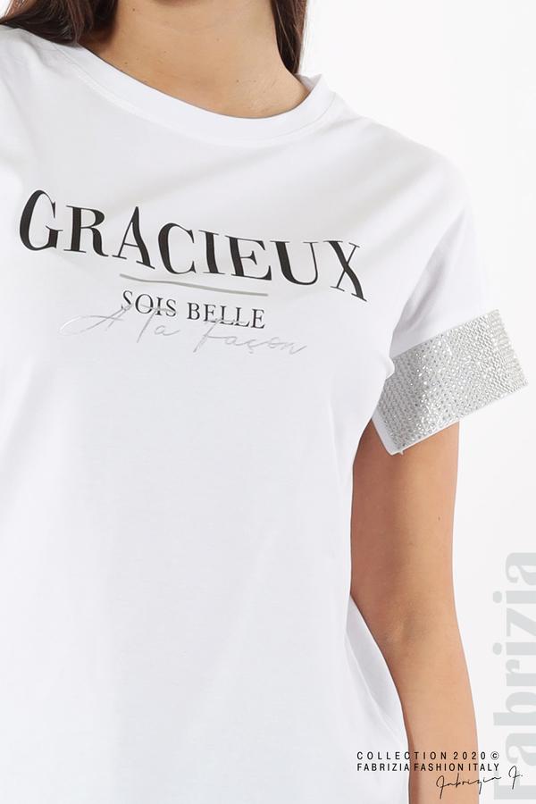 Блуза с надпис и камъни на ръкавите бял 3 fabrizia