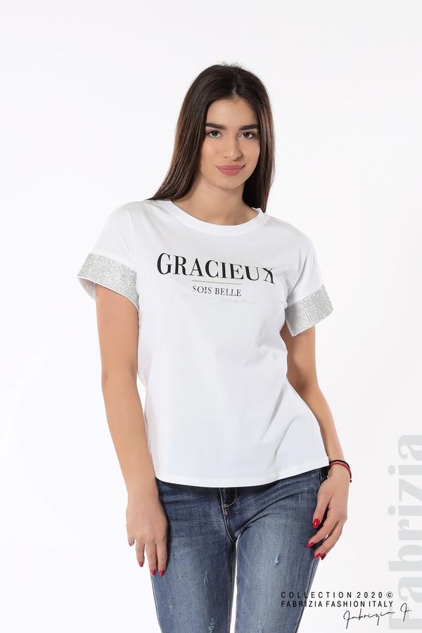 Блуза с надпис и камъни на ръкавите бял 1 fabrizia