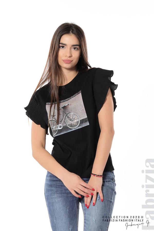 Блуза с колело плисирани ръкави черен 1 fabrizia
