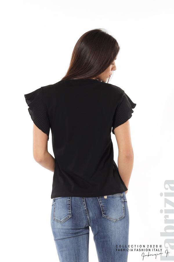 Блуза с колело плисирани ръкави черен 6 fabrizia