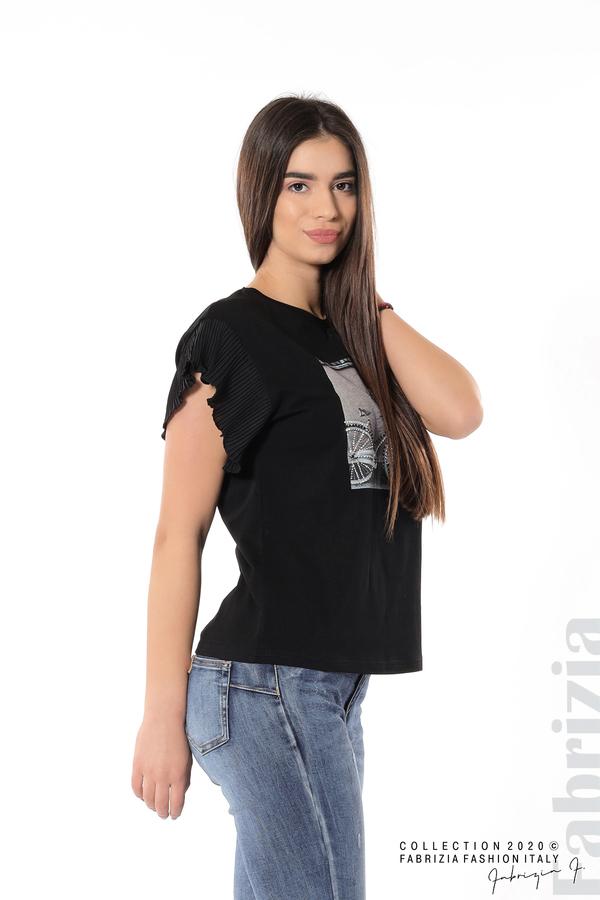 Блуза с колело плисирани ръкави черен 2 fabrizia