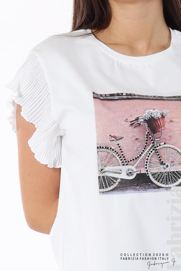 Блуза с колело плисирани ръкави бял 3 fabrizia
