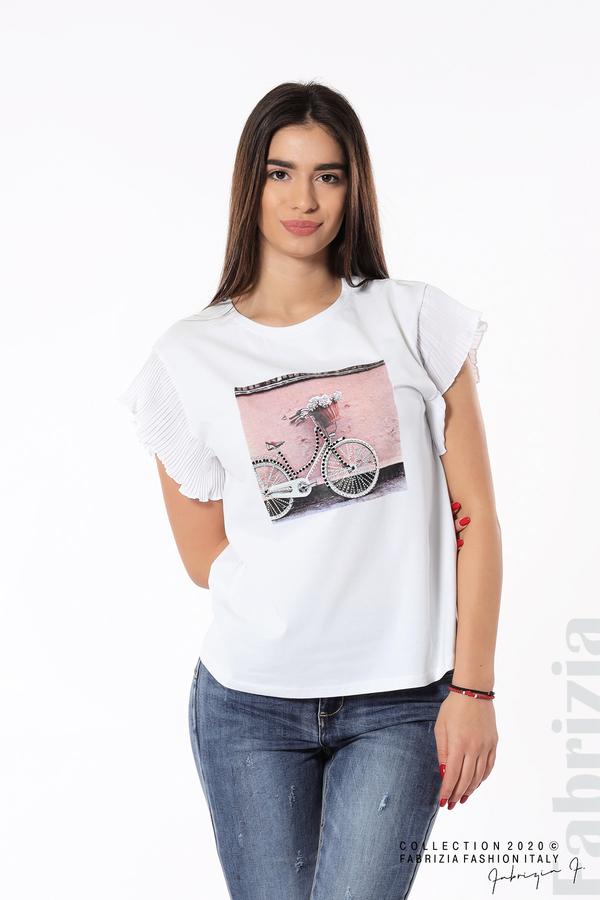 Блуза с колело плисирани ръкави бял 1 fabrizia