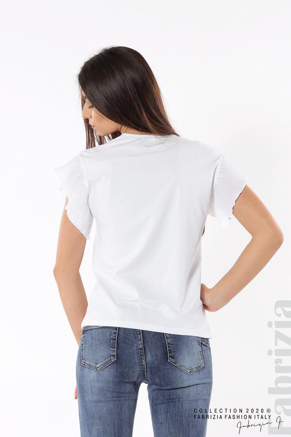Блуза с колело плисирани ръкави бял 5 fabrizia