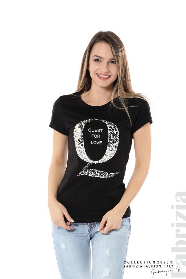 Блуза Quest for Love и декорация черен 1 fabrizia