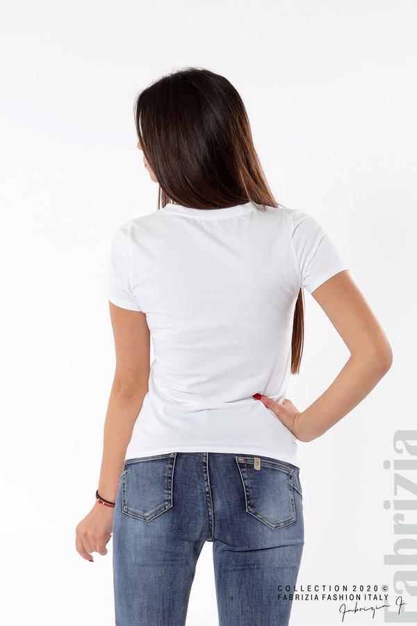 Блуза със златист надпис и дантела бял 5 fabrizia