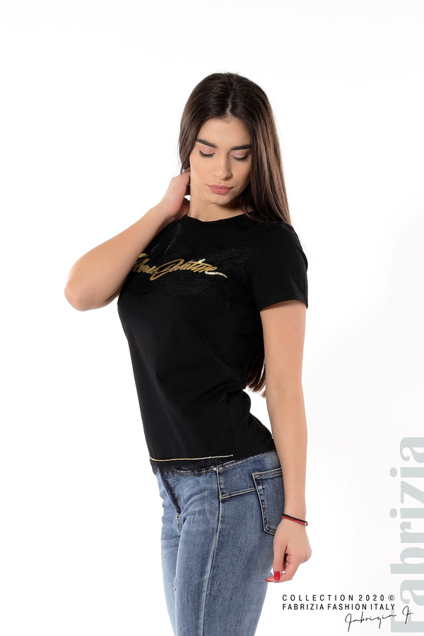 Блуза със златист надпис и дантела черен 4 fabrizia