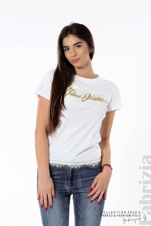 Блуза със златист надпис и дантела