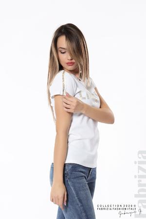 Дамска блуза със златист принт