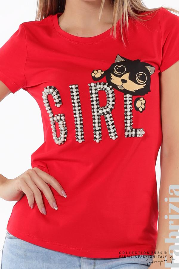 Блуза с надпис Girl червен 3 fabrizia