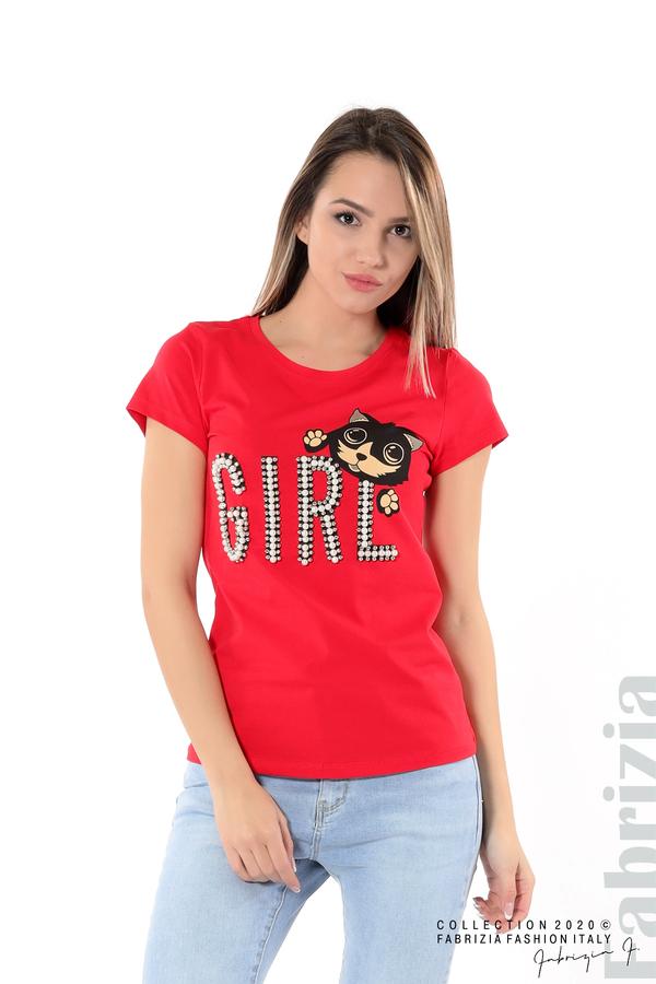 Блуза с надпис Girl червен 1 fabrizia