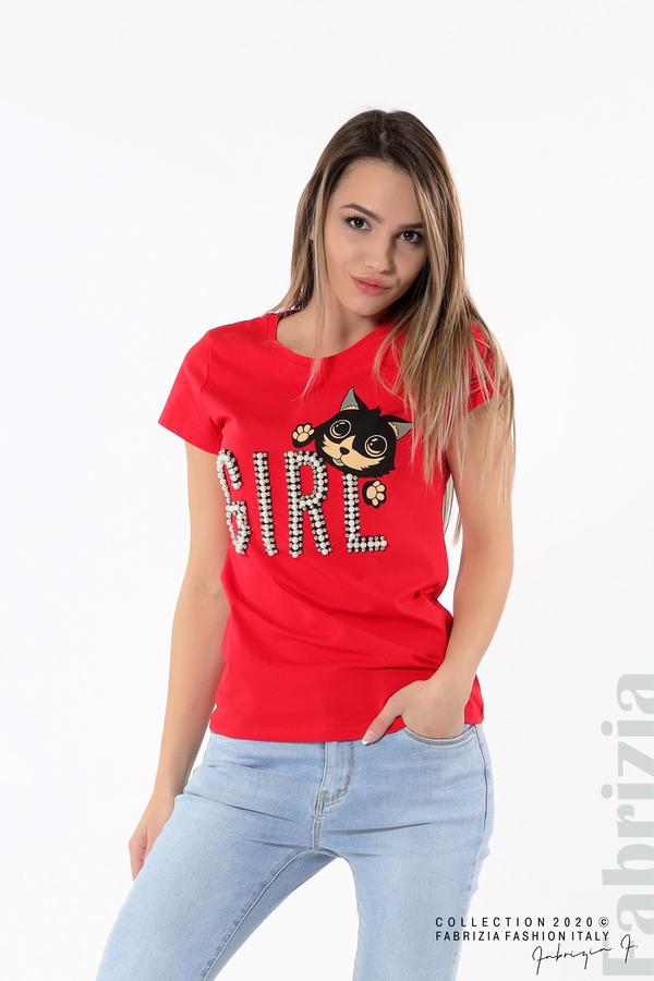 Блуза с надпис Girl червен 4 fabrizia